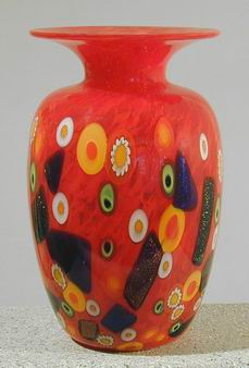 Art Glass Vase by Rina Fehrensen from Kela's...a glass gallery on Kauai :  home designer home accents red dichroic vase