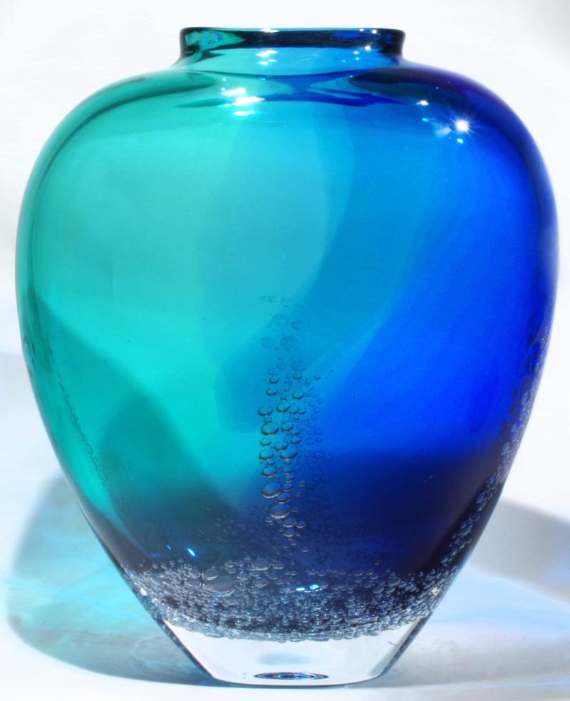 Art glass ocean bubble vase from kelasa glass gallery on kauaii bb flat round vase lg g approx 115h x 10w x 5deep reviewsmspy